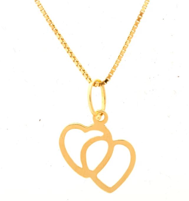 Gargantilha com Pingente de ouro 18k coração