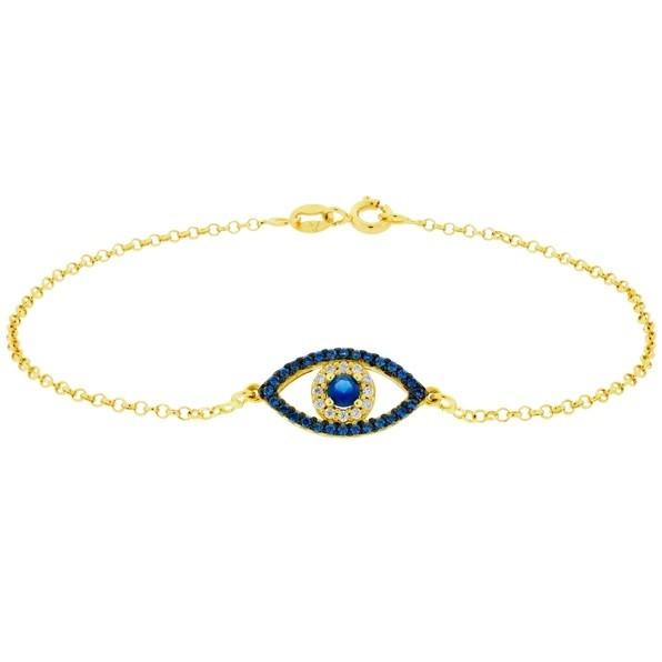 Pulseira Olho Grego com Zirconias Ouro 18K