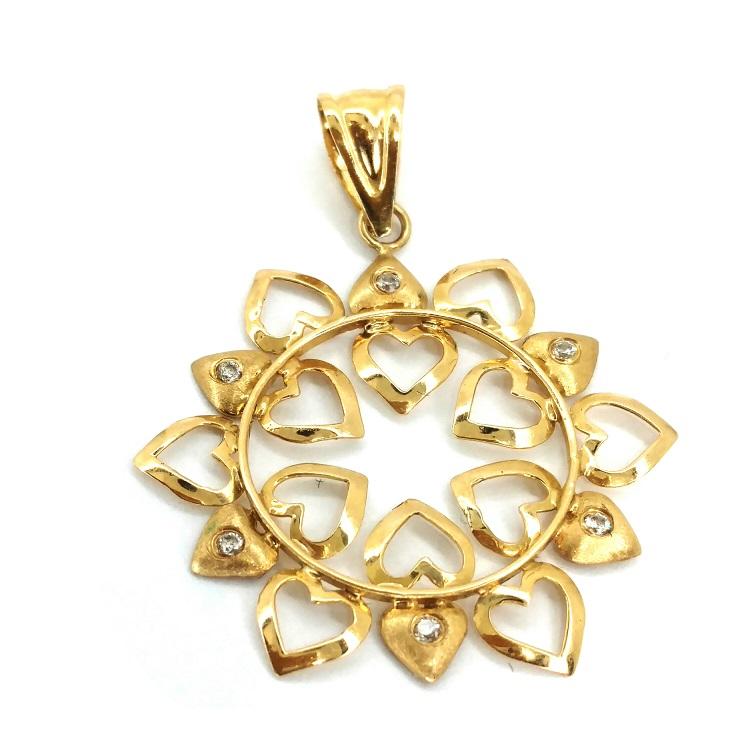 Mandala ouro 18 k Corações