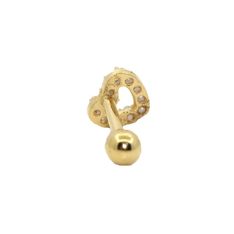 Piercing  em Ouro 18k Cartilagem Coração com Zirconia