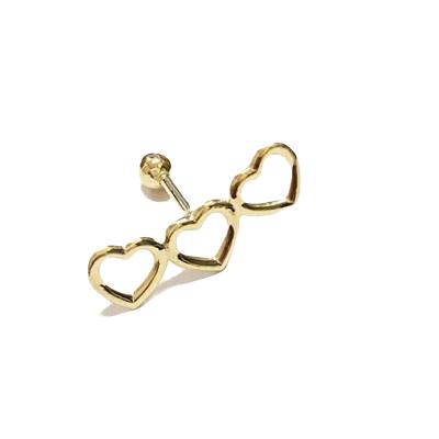 Piercing de ouro 18k Cartilagem 3 Corações