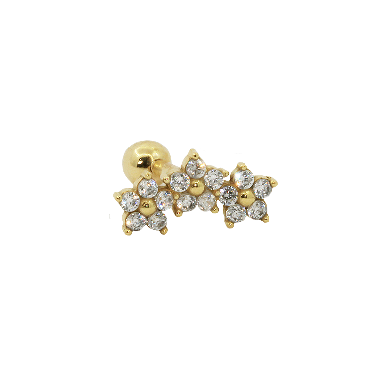 Piercing de ouro 18k Cartilagem 3 Flores
