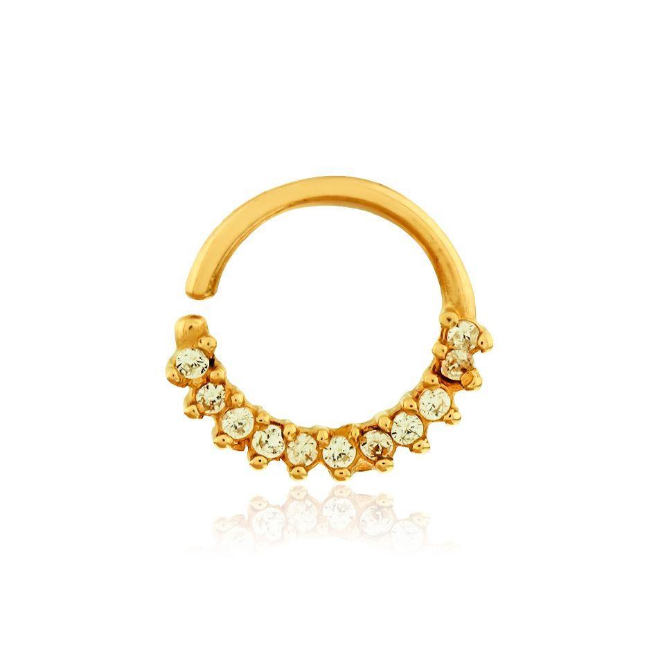 Piercing de ouro 18k de orelha com pedras