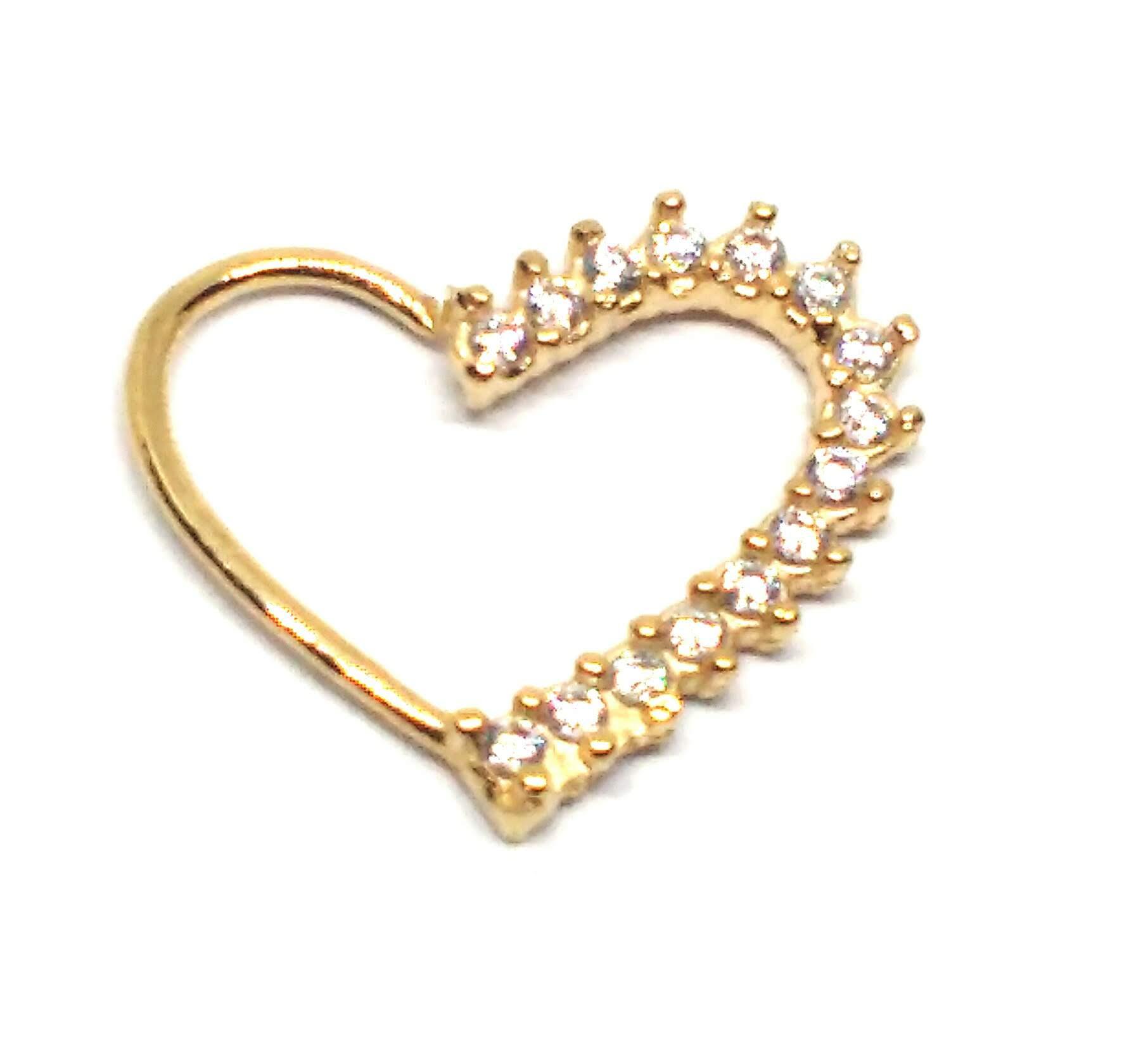 Piercing de ouro 18k de Daith com pedras coração