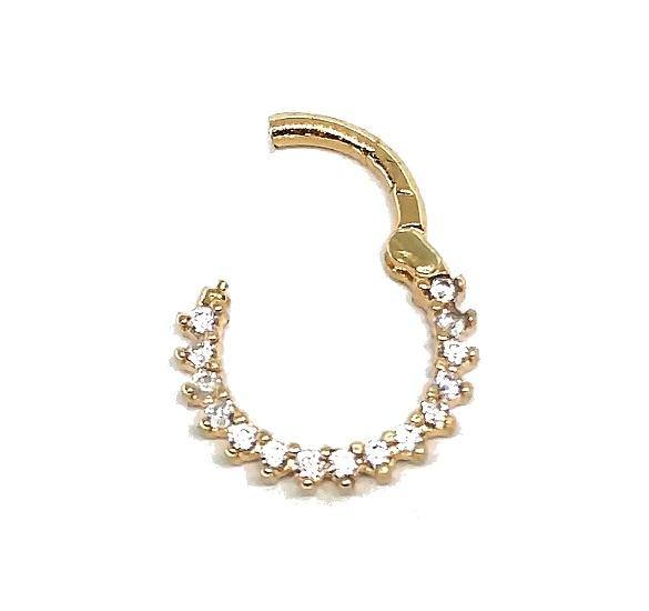 Piercing de ouro 18k de orelha com pedras Daith