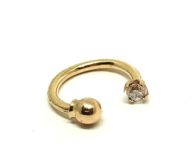 Piercing de ouro 18k de orelha, nariz ou tragus bolinhas e zirconia