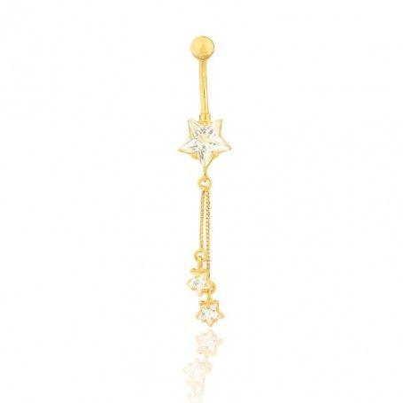 Piercing de ouro 18k de umbigo com 3 Estrelas