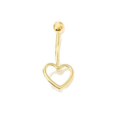 Piercing de ouro 18k de umbigo com coração