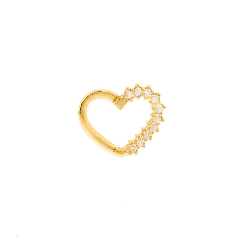 Piercing ouro 18k helix cartilagem coração com pedras trava