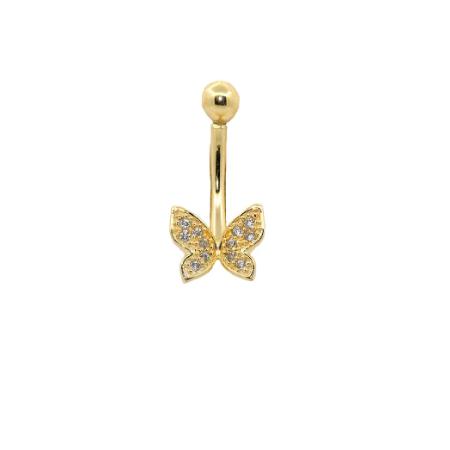 Piercing  Umbigo Ouro 18k Borboleta