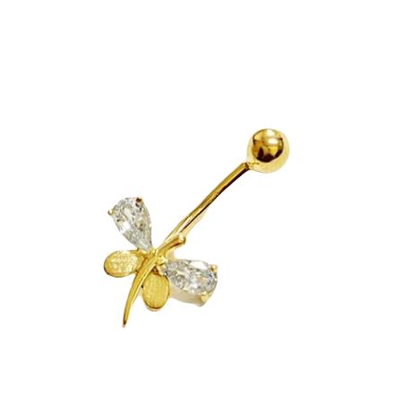 Piercing  Umbigo Ouro 18k Libelula
