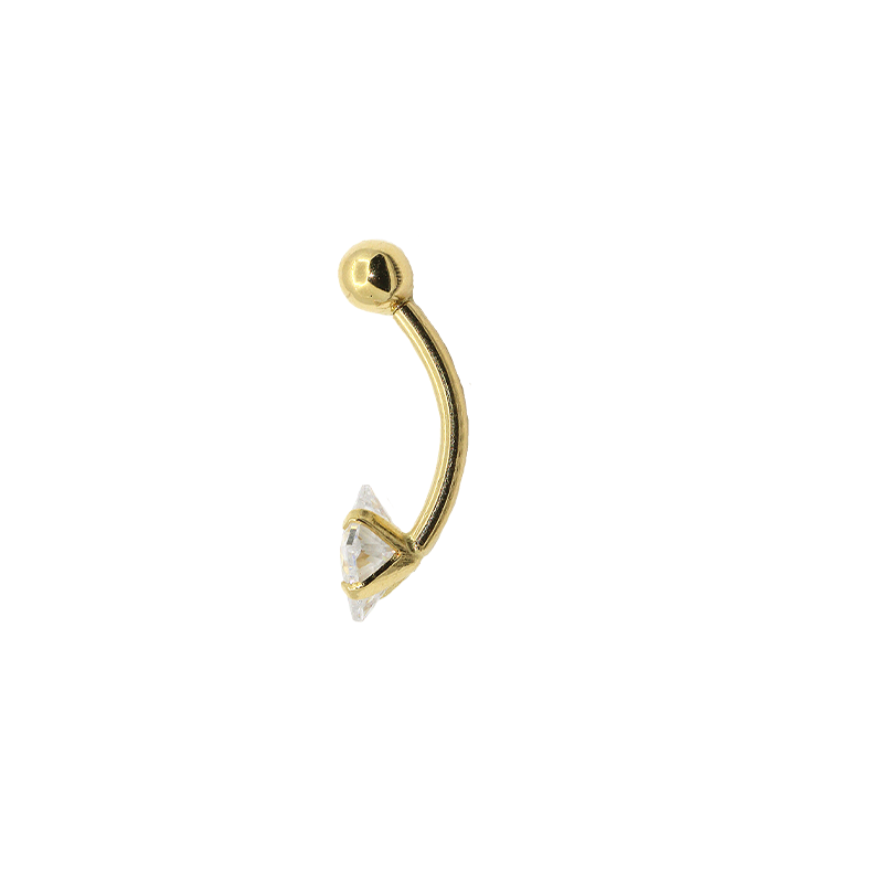 Piercing  Umbigo Ouro 18k Zirconia  Carre