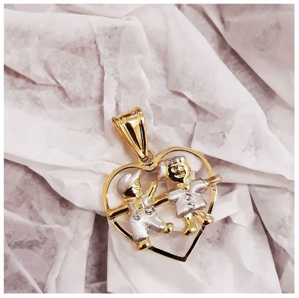 Pingente de ouro 18k  coração Casal