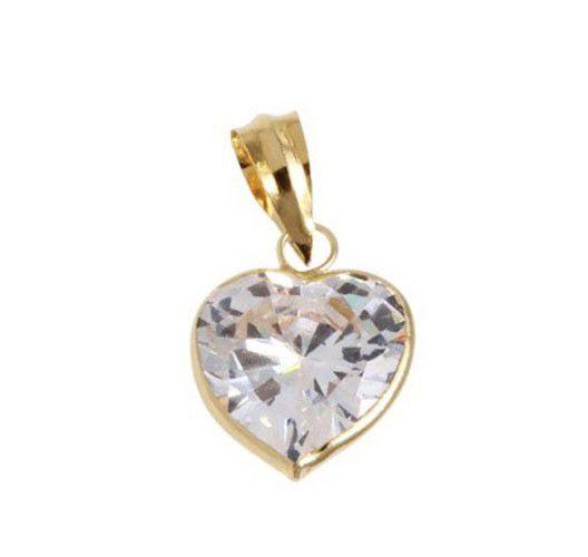 Pingente de ouro 18k coração com pedra de zircônia