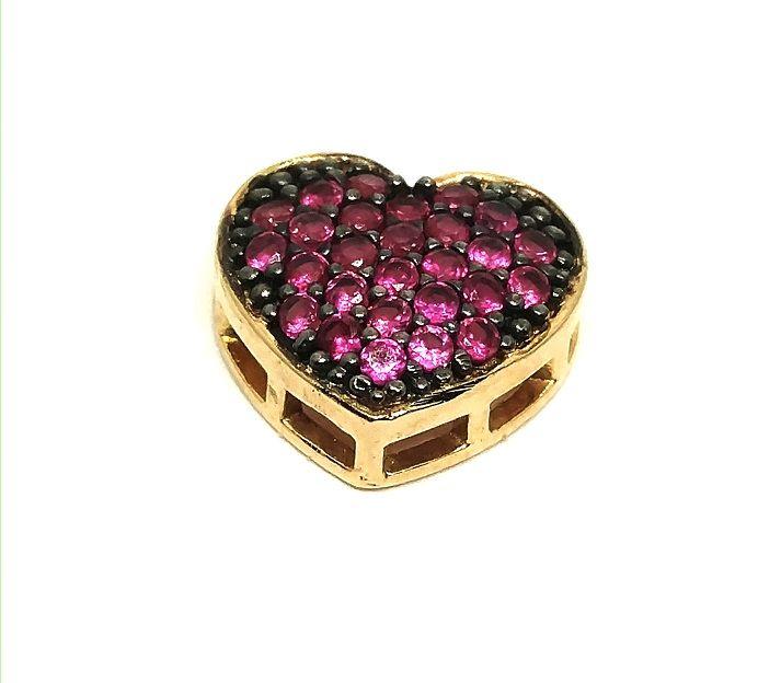 Pingente de ouro 18k Coração com Pedras