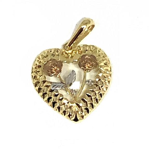 Pingente de ouro 18k Coração com Rosa