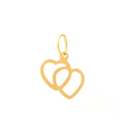Pingente de ouro 18k Coração Duplo Vazado