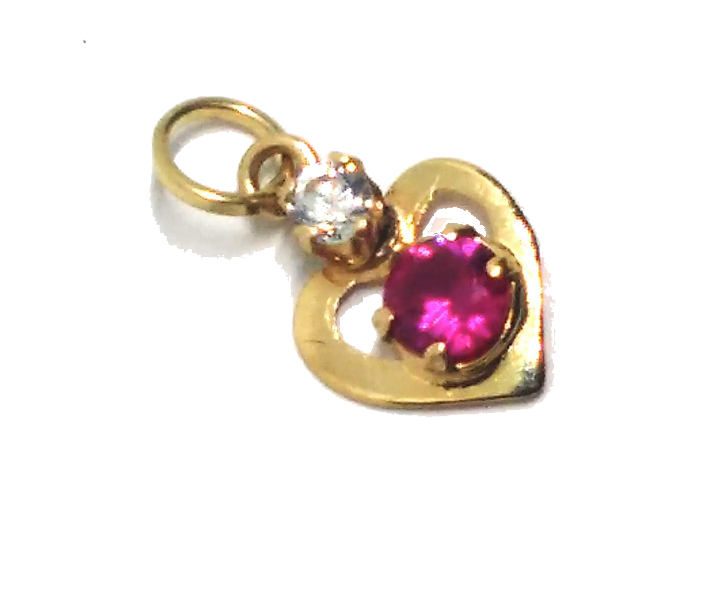 Pingente de ouro 18k Coração e Pedra