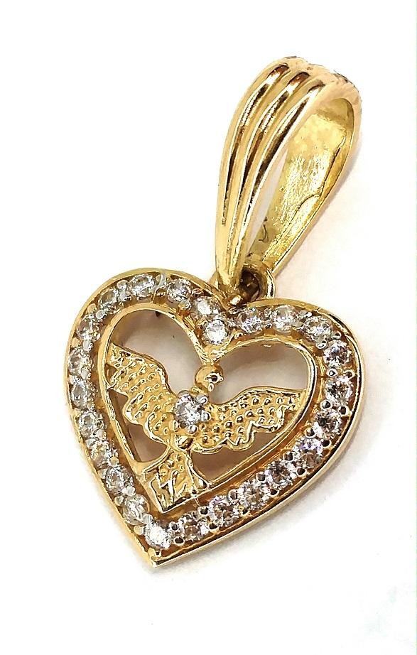 Pingente de ouro 18k Coração Espirito Santo