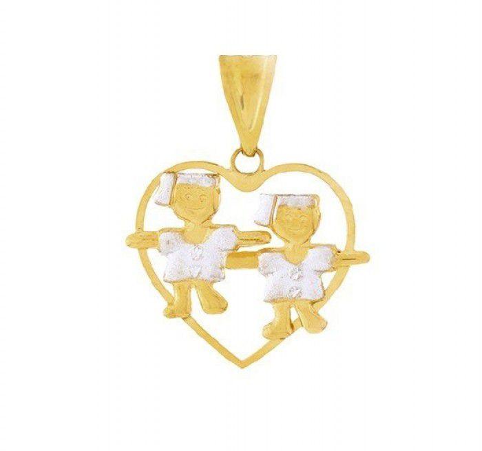 Pingente de ouro 18k  coração Filhas