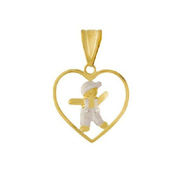 Pingente de ouro 18k  coração filho