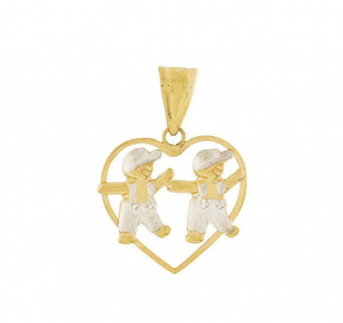 Pingente de ouro 18k  coração Filhos