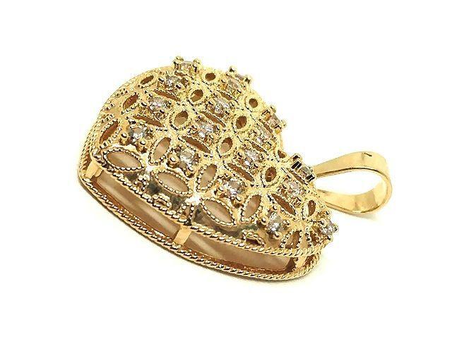 Pingente de ouro 18k Coração  Fofo com Pedras