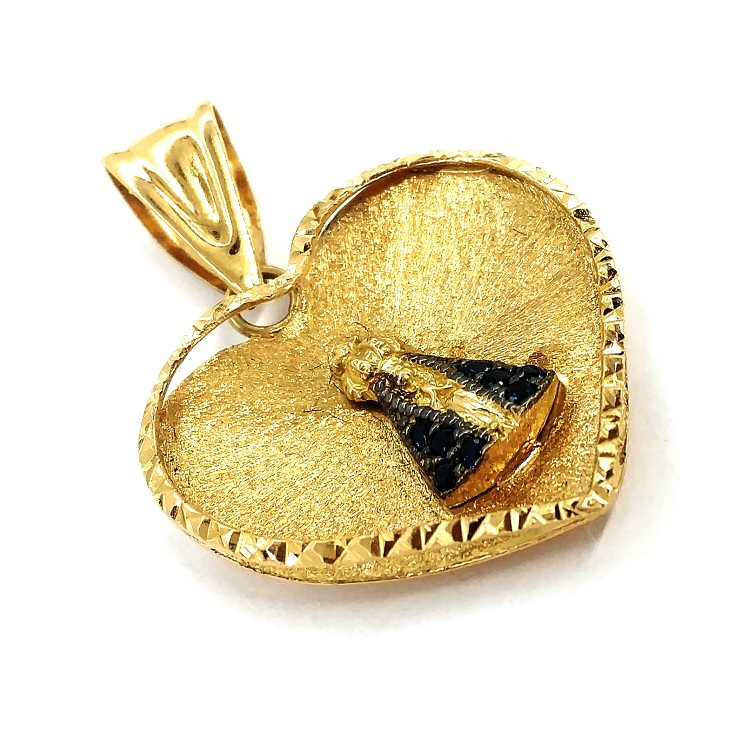 Pingente de ouro 18k Coração Nossa Senhora Aparecida
