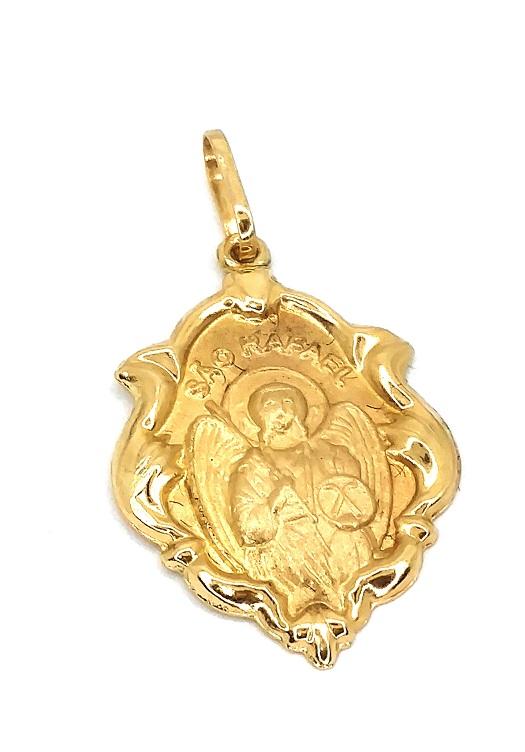 Pingente de ouro 18k Medalha São Rafael