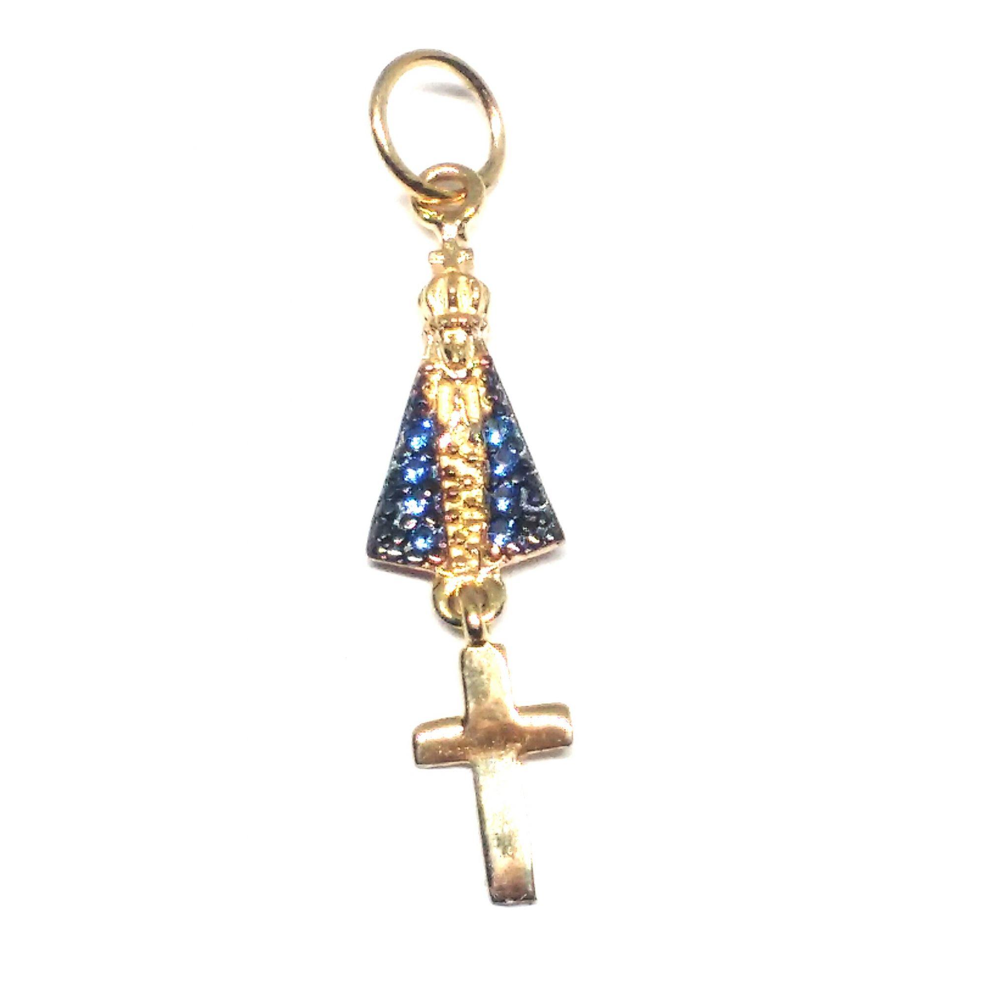 Pingente de ouro 18k Nossa Senhora Aparecida com pingente