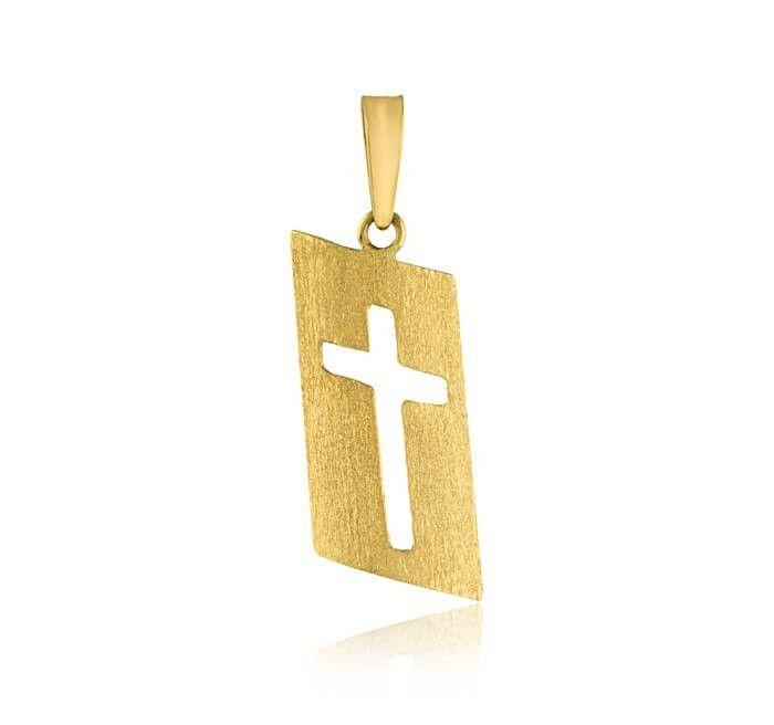 Pingente De Ouro 18k PLaca Crucifixo