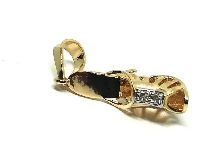 Pingente de ouro 18k Sapato com Pedras