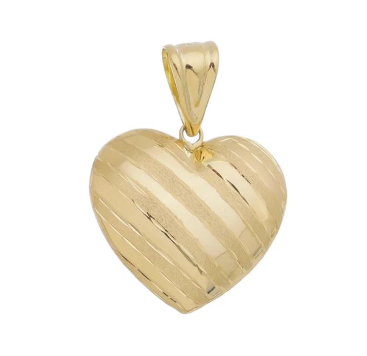 Pingente em ouro 18k coração faixas