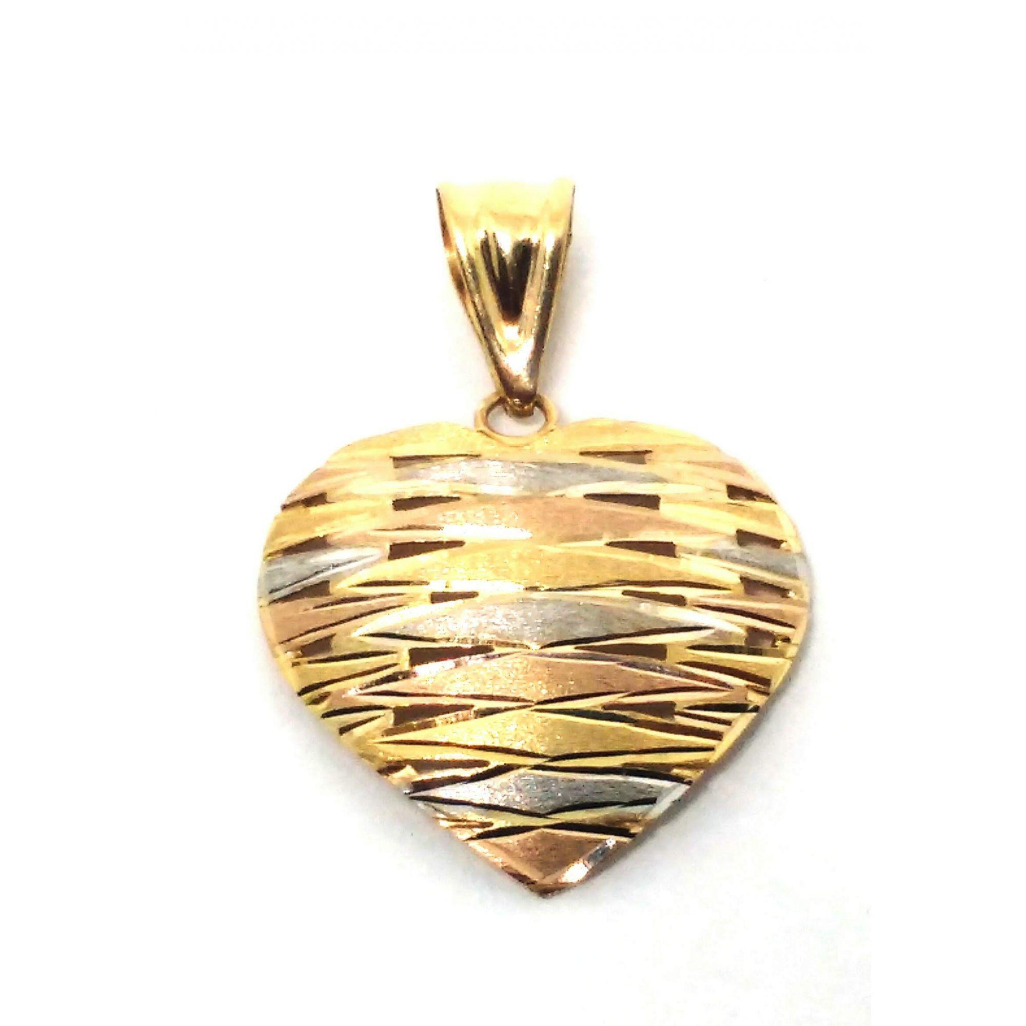 Pingente em ouro 18k coração tricolor