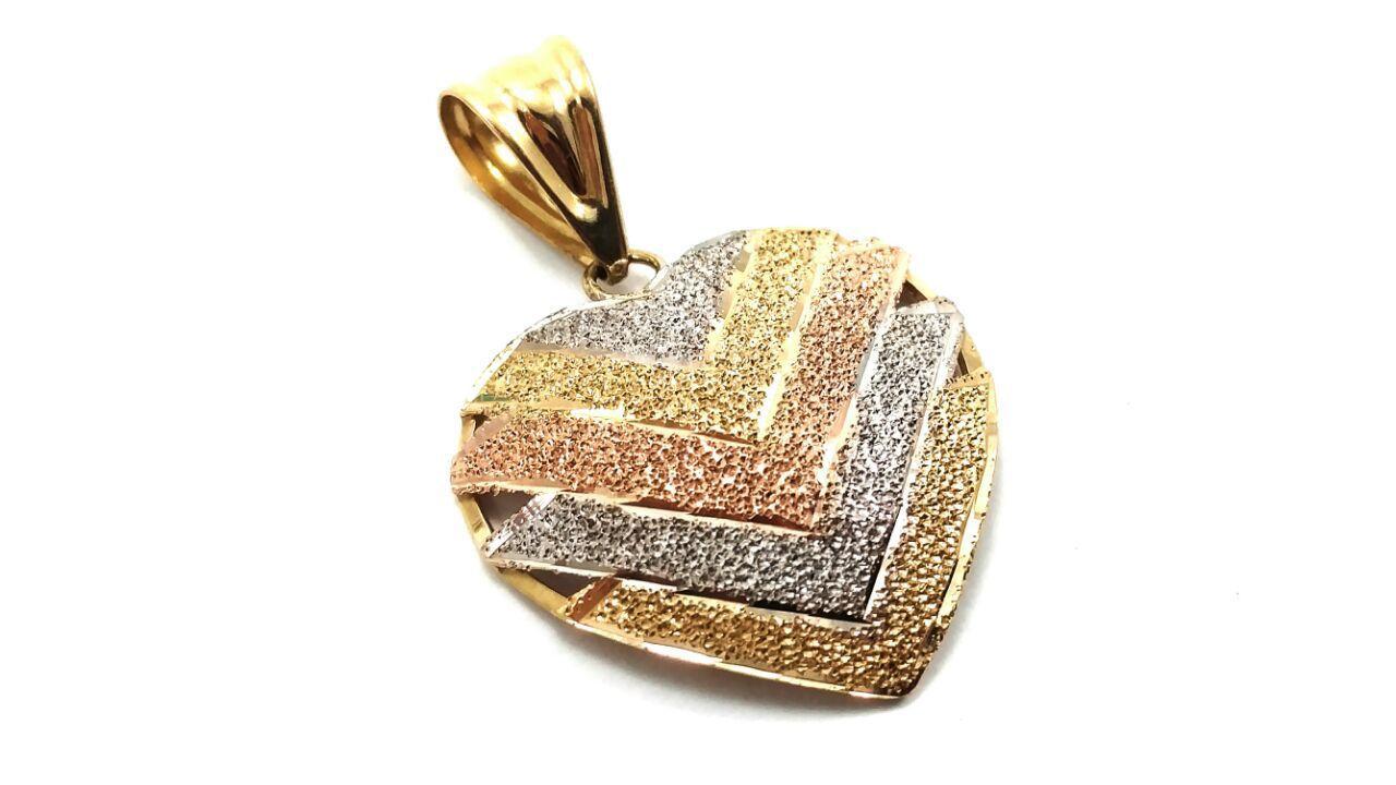 Pingente em ouro 18k coração tricolor V