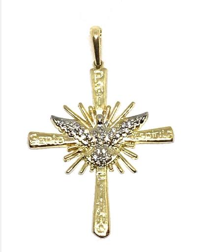 Pingente em Ouro 18K Crucifixo com Espirito Santo