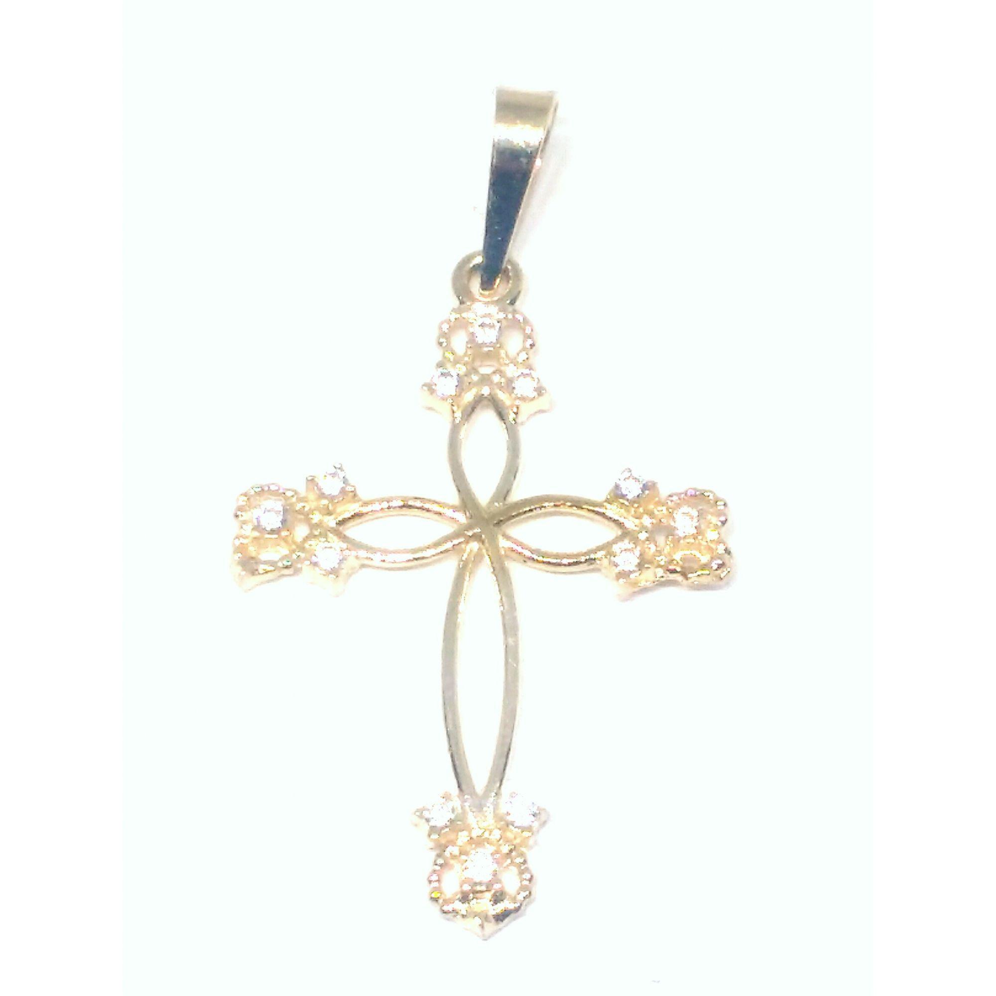 Pingente em Ouro 18K Crucifixo Cravejado Vasado