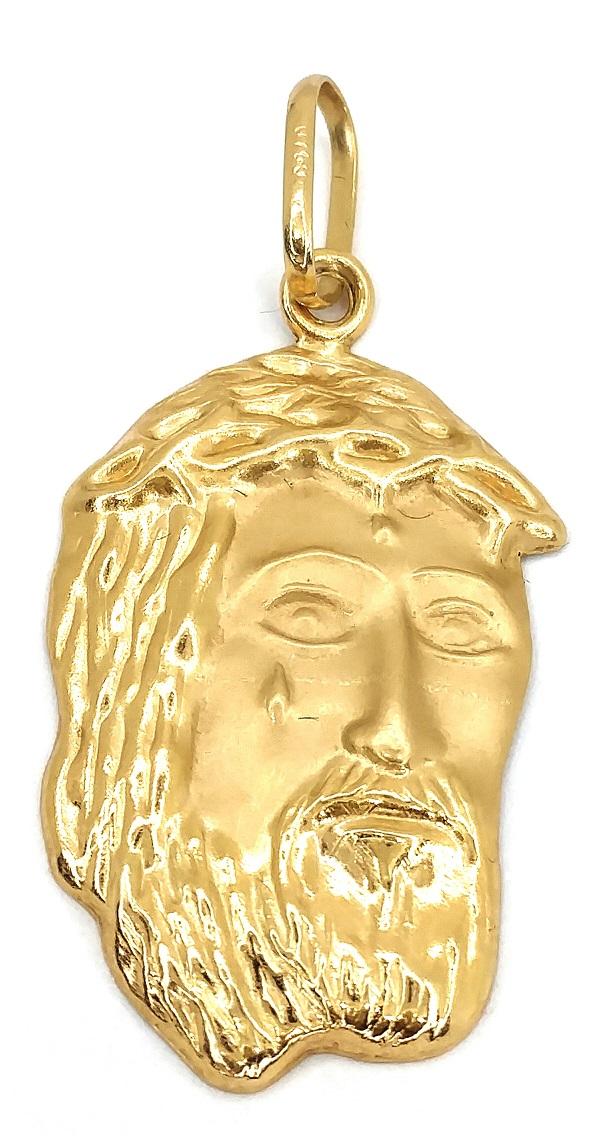 Pingente em Ouro 18K Face de Cristo Grande