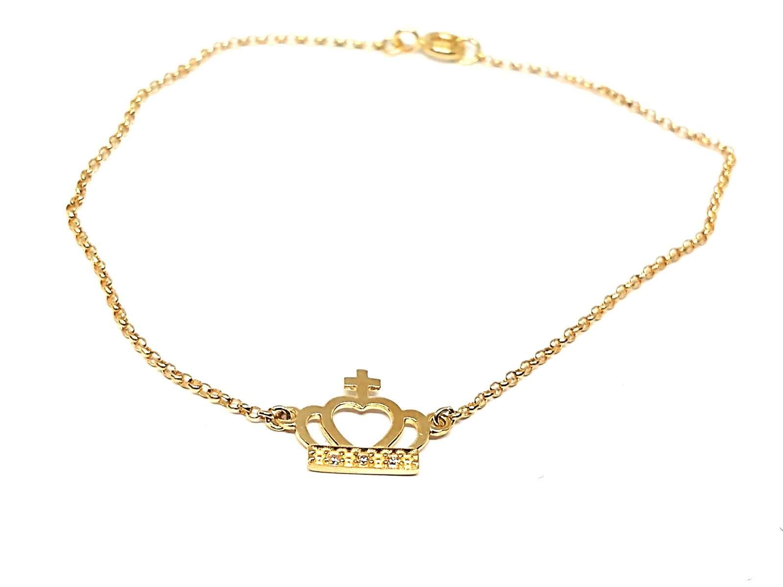 Pulseira com Pingente de ouro 18k Coroa