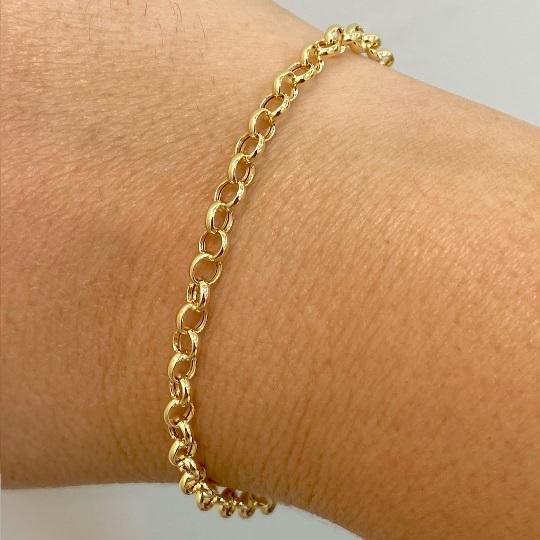 Pulseira de ouro 18 k Elo Portugues 19cm 3,30mm a 4,00mm Fina