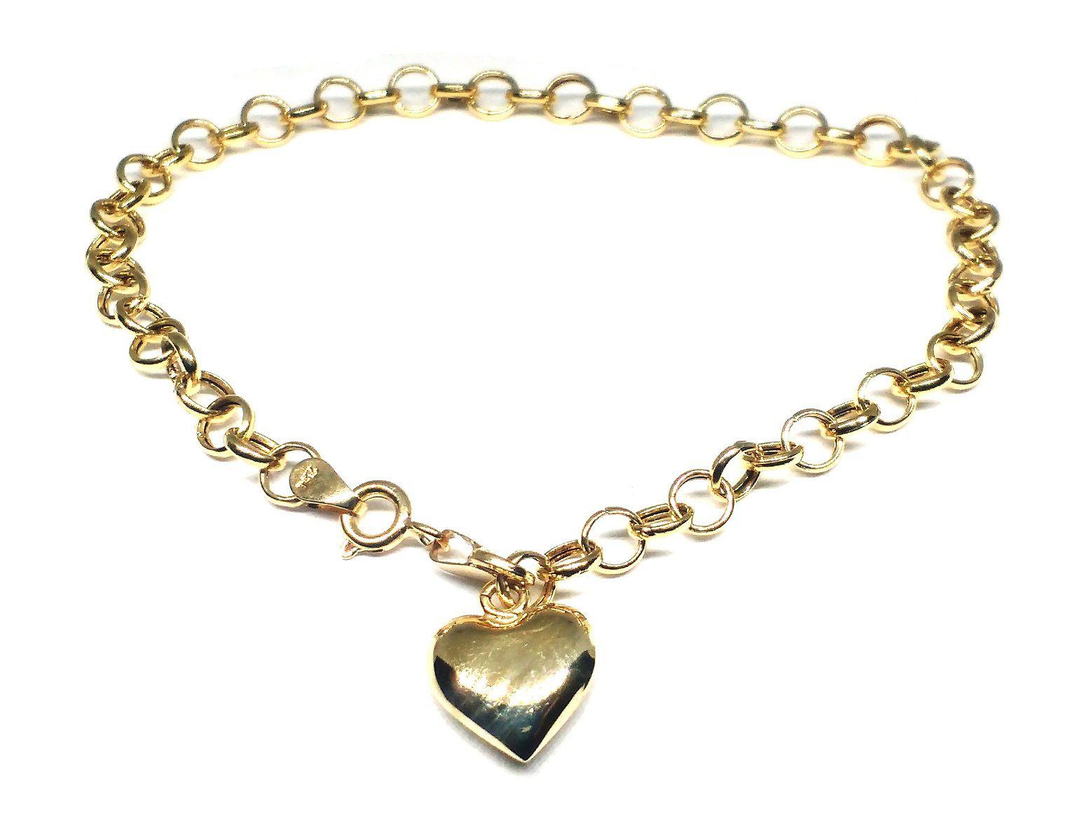 Pulseira de ouro 18 k Elo Português com Pingente coração