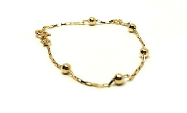 Pulseira de ouro 18k Bolinha Cartier Infantil