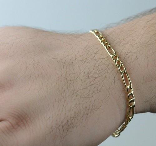Pulseira de Ouro 18K Fígaro 3 x 1 21cm 3,0mm a 4,5mm (fina)