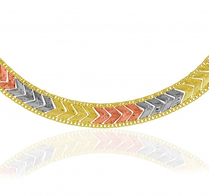 Pulseira de Ouro 18k Taparella Taparella Tricolor