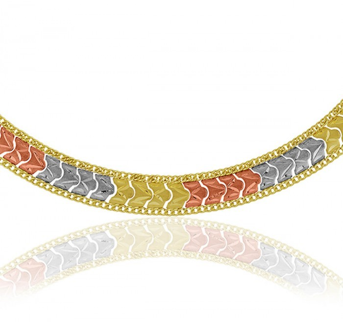 Pulseira de Ouro 18k Taparella Tricolor