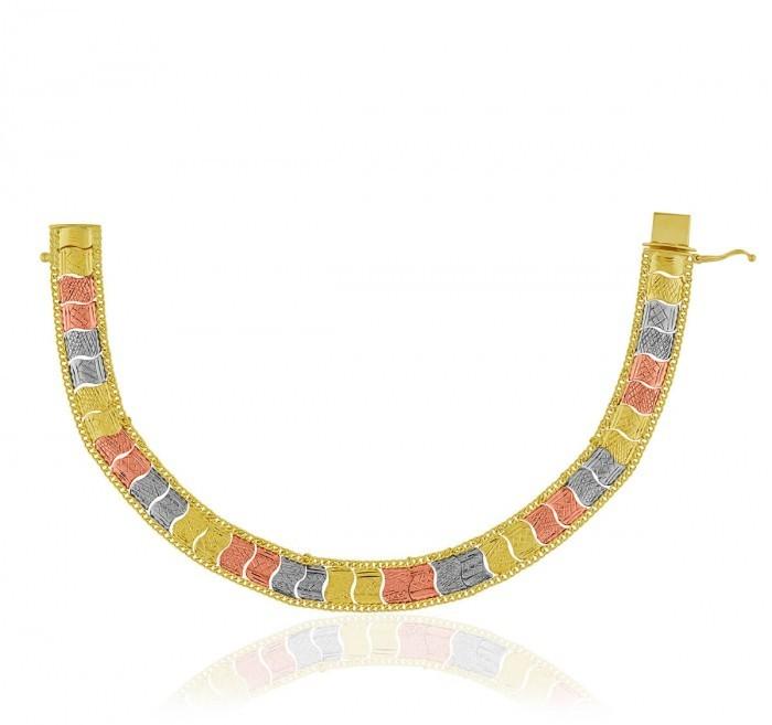 Pulseira de Ouro 18k Taparella Tricolor Com Detalhes