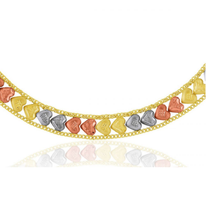 Pulseira de Ouro 18k Taparella Tricolor Corações