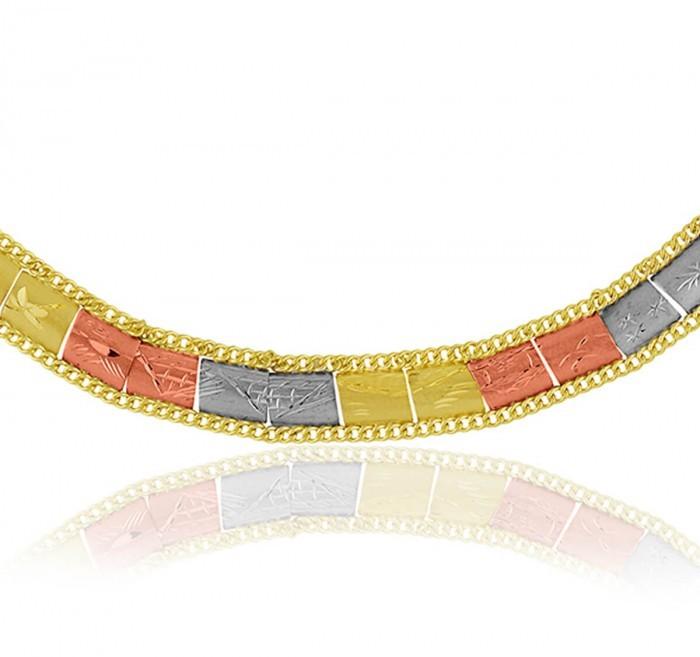 Pulseira de Ouro 18k Taparella Tricolor Escravas