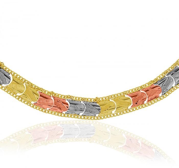 Pulseira de Ouro 18k Taparella Tricolor Polida Com Detalhe