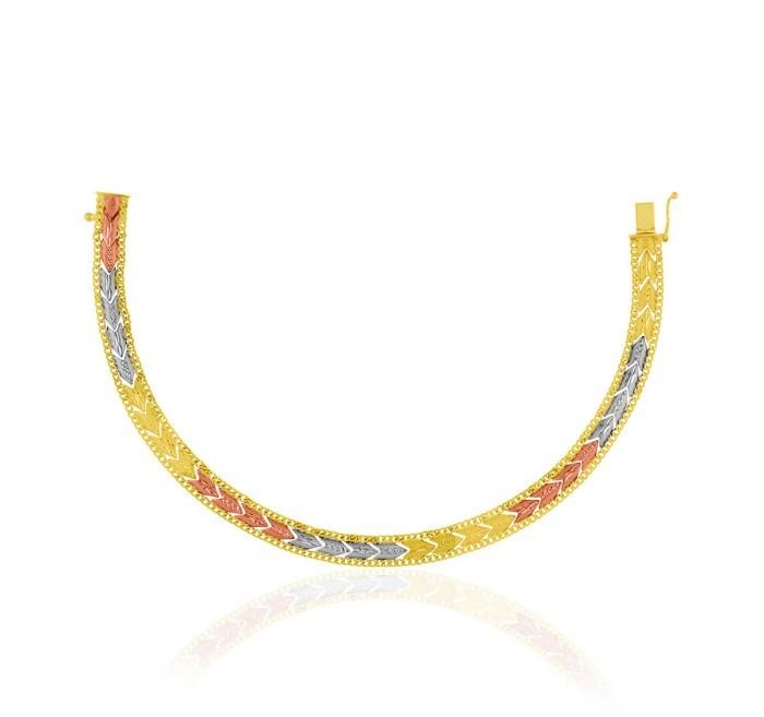 Pulseira de Ouro 18k Taparella Tricolor Setas